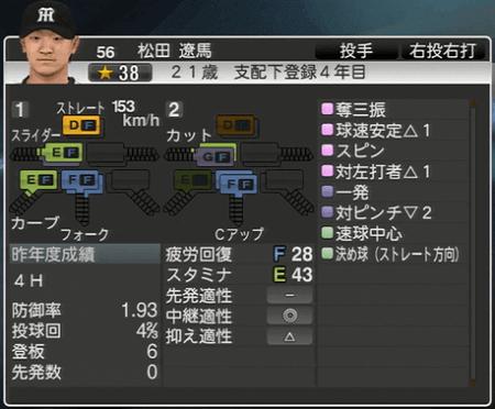 松田遼馬 プロ野球スピリッツ2015 ver1.10