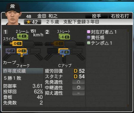 金田和之 プロ野球スピリッツ2015 ver1.10