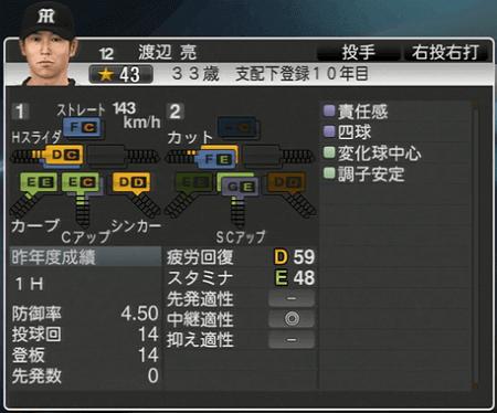 渡辺亮 プロ野球スピリッツ2015 ver1.10