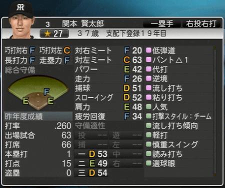 関本賢太郎 プロ野球スピリッツ2015 ver1.10