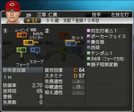 江草仁貴 プロ野球スピリッツ2015 ver1.10