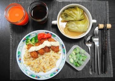 牡蠣フライ焼飯、ロールキャベツ セット