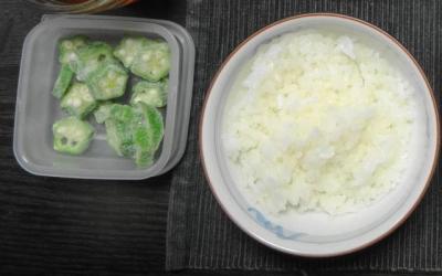 ご飯&冷凍オクラ