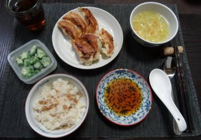 餃子定食、メンマライス付き