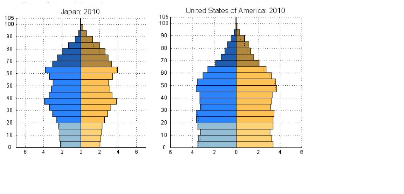 人口ピラミッド比較(日本、アメリカ)<br />