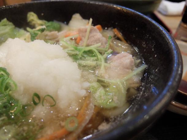 豚と白菜と水菜のおろしうどん