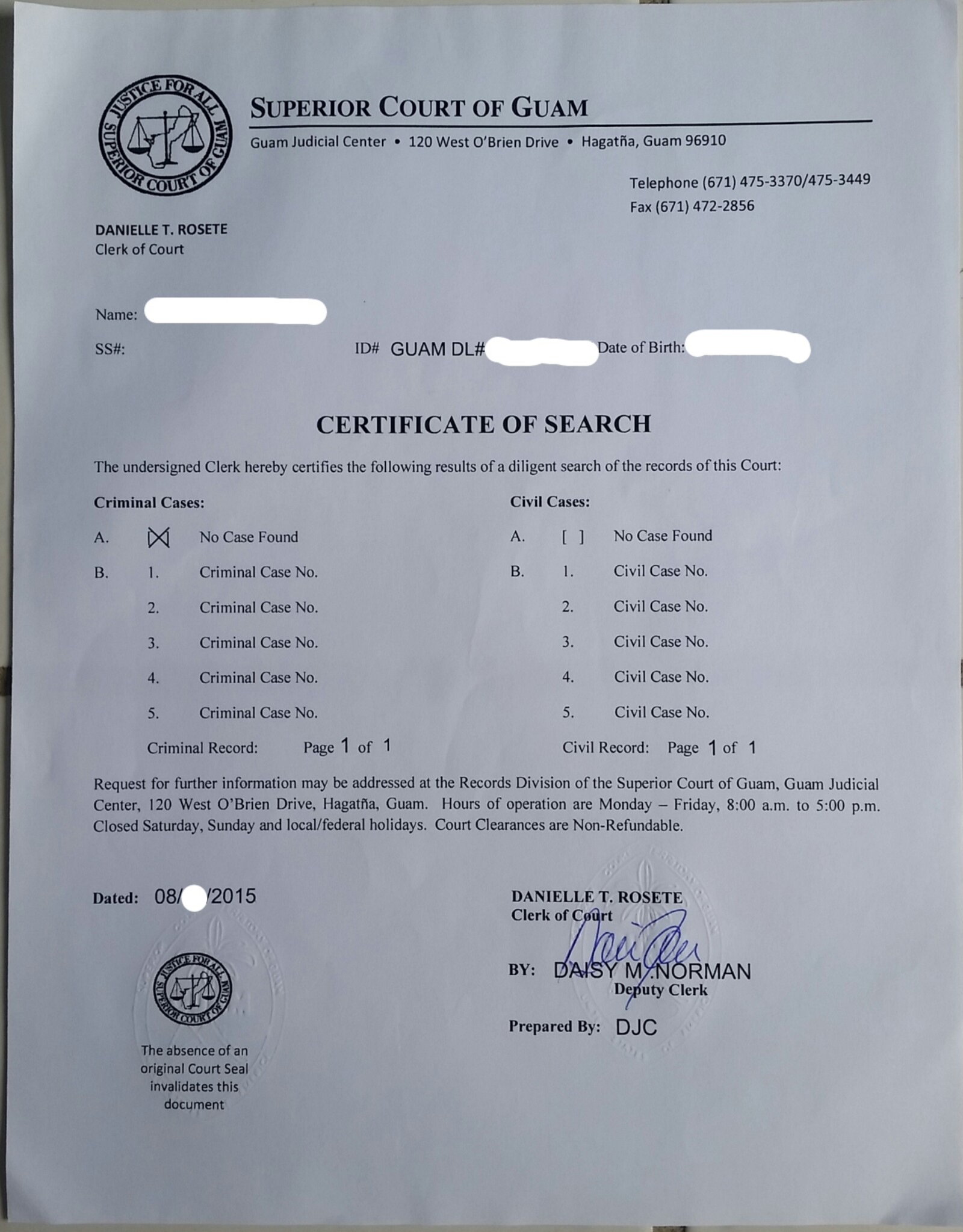 Guam Court Clearance