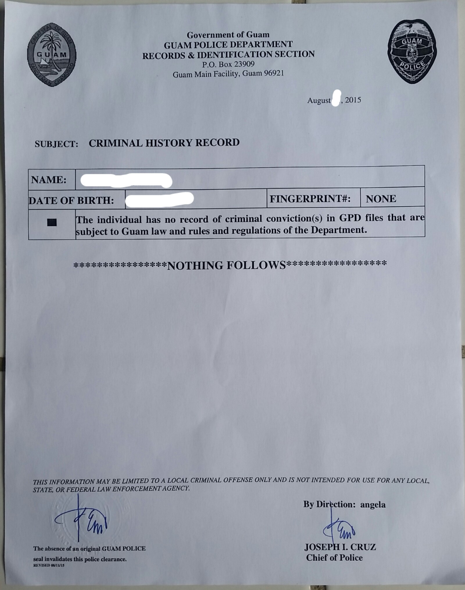 Guam Police Clearance