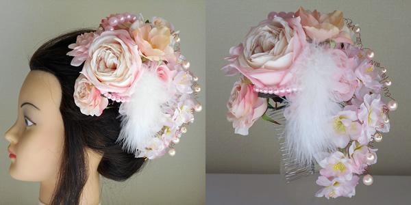 大輪ピンクローズと桜とファーの結婚式髪飾り