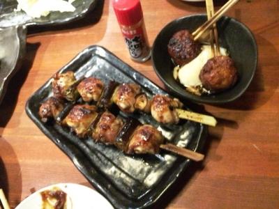 160203てらきん浜松田町店ジャンボ鶏ねぎま、温玉つくね