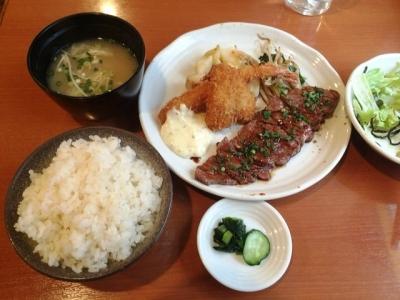 160206洋食鉄板焼 OPEN SESAME!Aランチ880円照り焼きビーフステーキと海老フライ、キスフライ