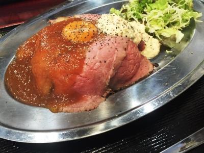160208どぎゃん立売堀店ローストビーフ丼(並)800円フルーツ入りタレとタルタル