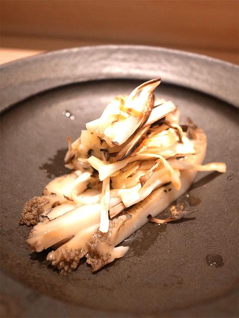 150726ひさ田-蒸し鮑と焼き黄ニラ