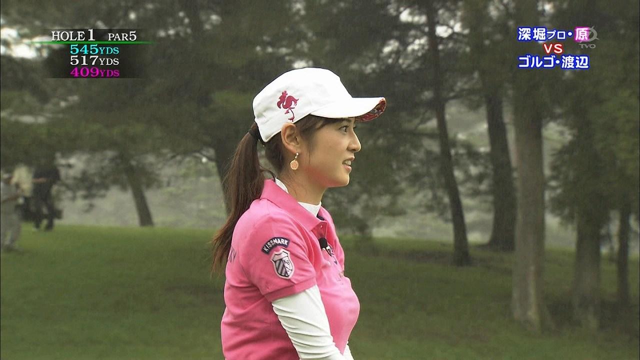 テレビ東京「ゴルフの真髄」、ポロシャツでゴルフをする原史奈の着衣おっぱい