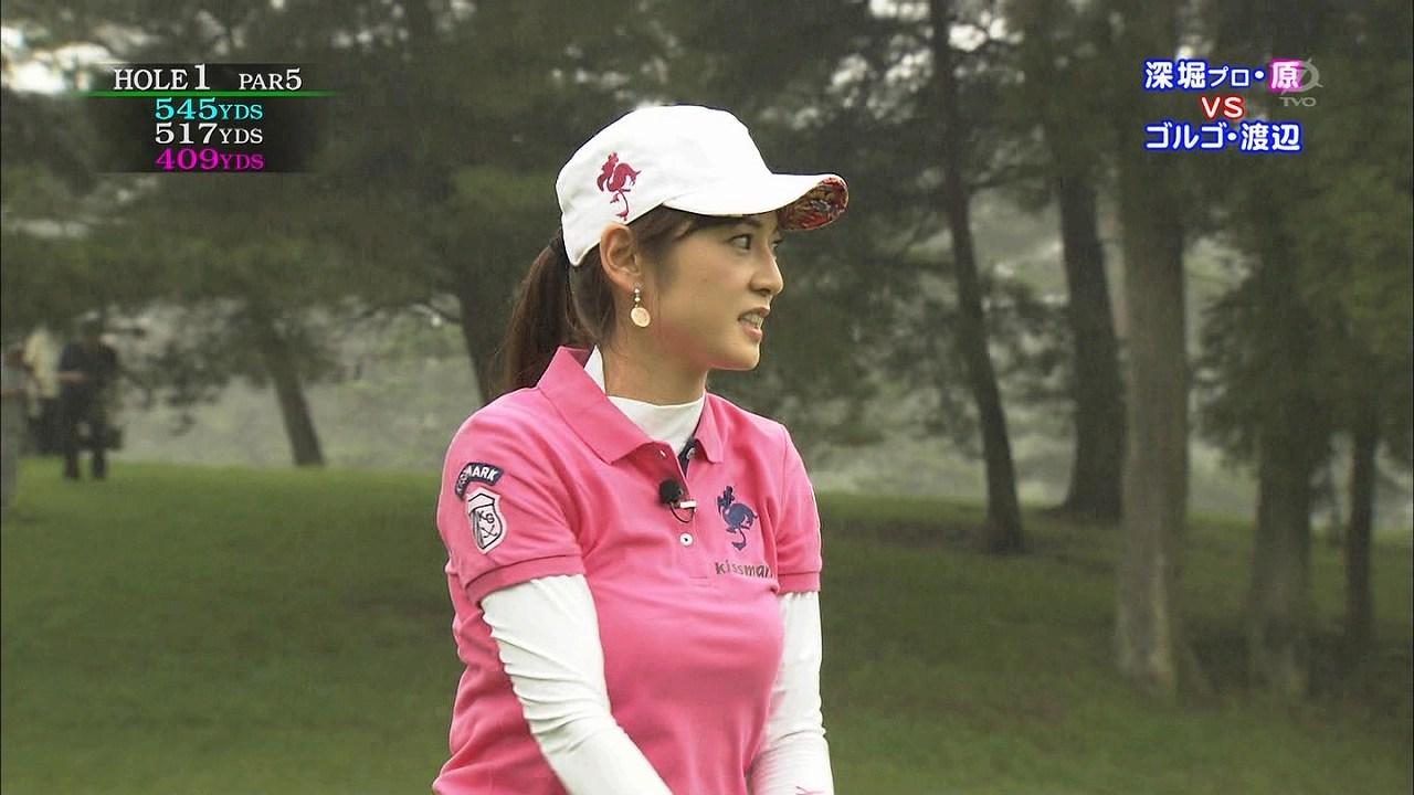 テレビ東京「ゴルフの真髄」、ポロシャツでゴルフをする原史奈の着衣巨乳