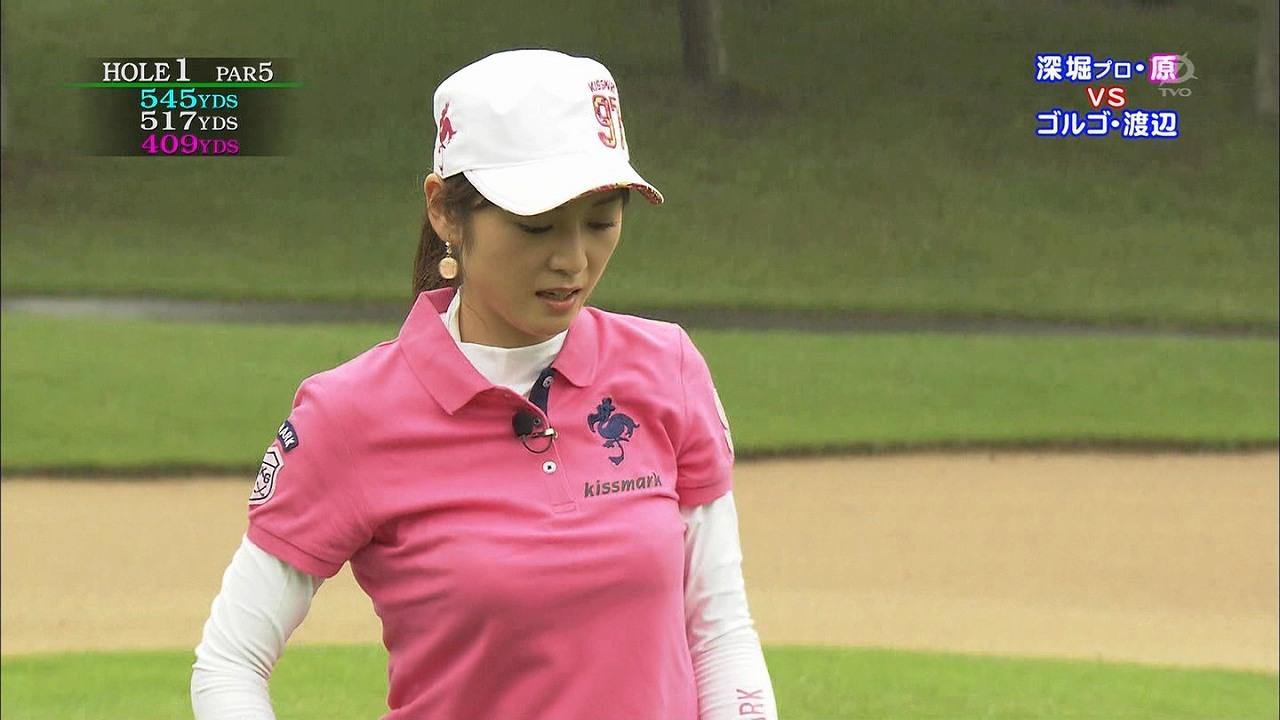 テレ東「ゴルフの真髄」、ポロシャツでゴルフをする原史奈の着衣おっぱい