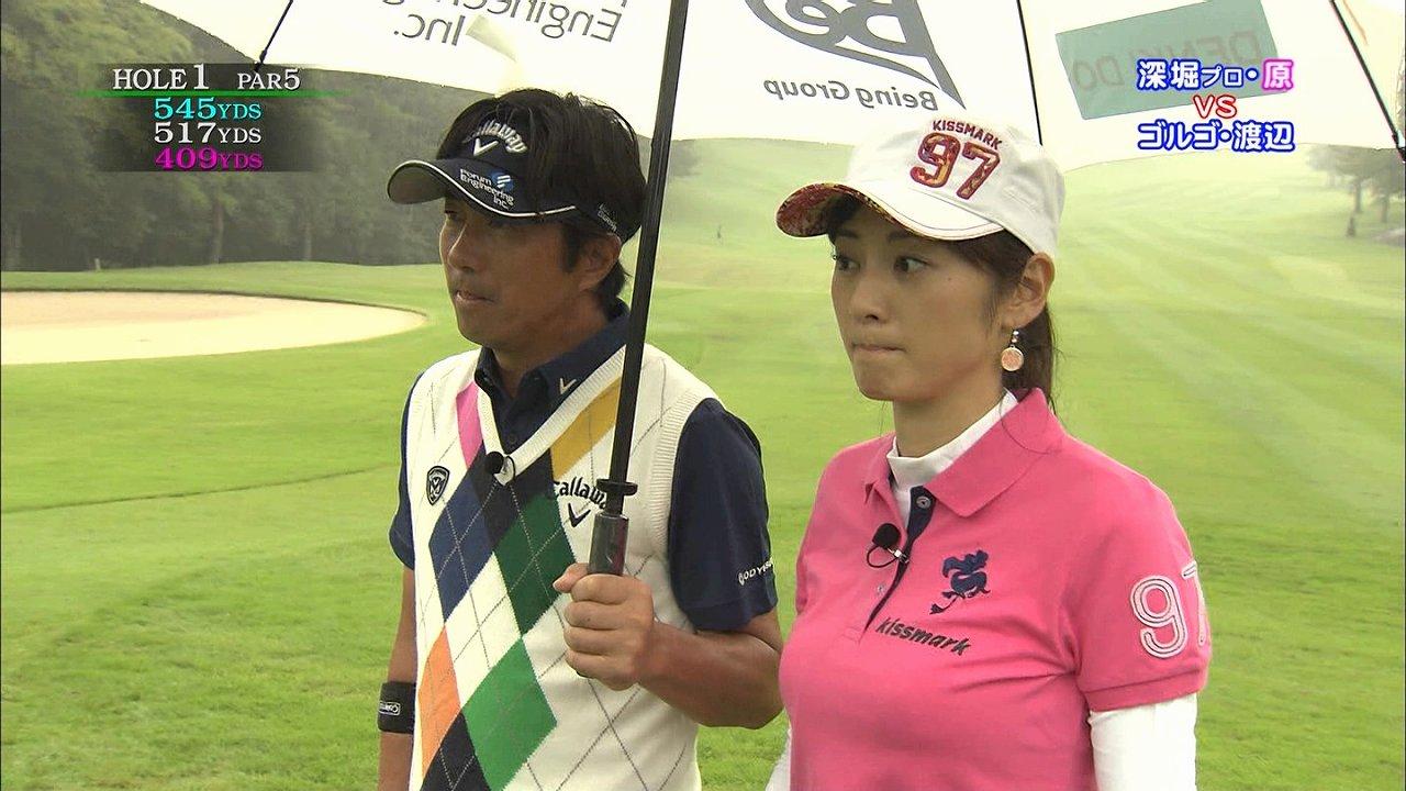 テレ東「ゴルフの真髄」、ポロシャツでゴルフをする原史奈の着衣巨乳