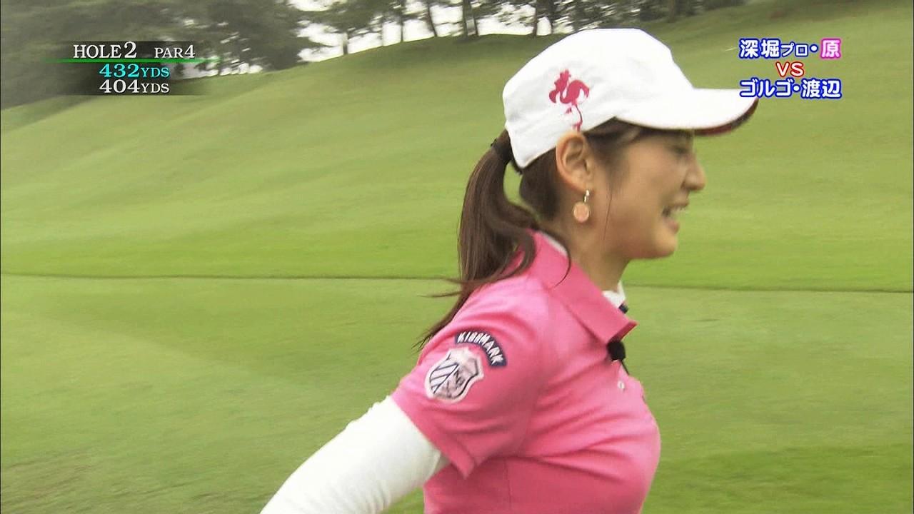 「ゴルフの真髄」、ポロシャツでゴルフをする原史奈の着衣巨乳