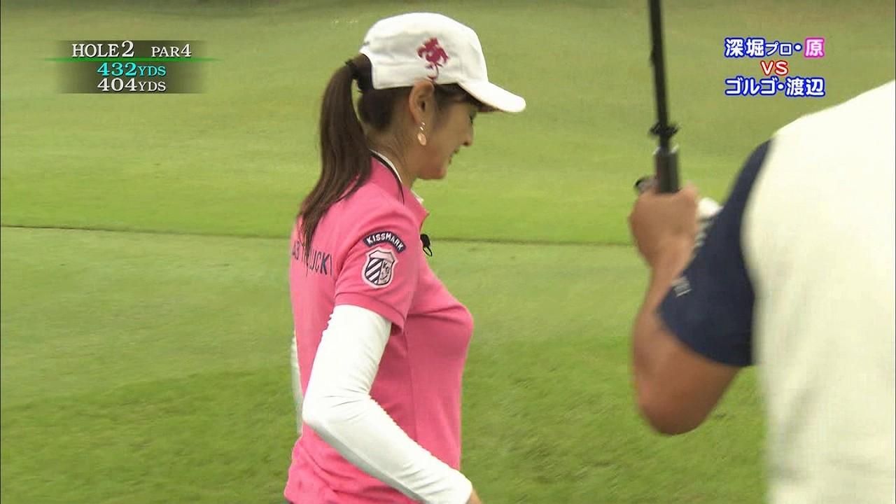 テレ東「ゴルフの真髄」、ゴルフウェアを着た原史奈の着衣おっぱい