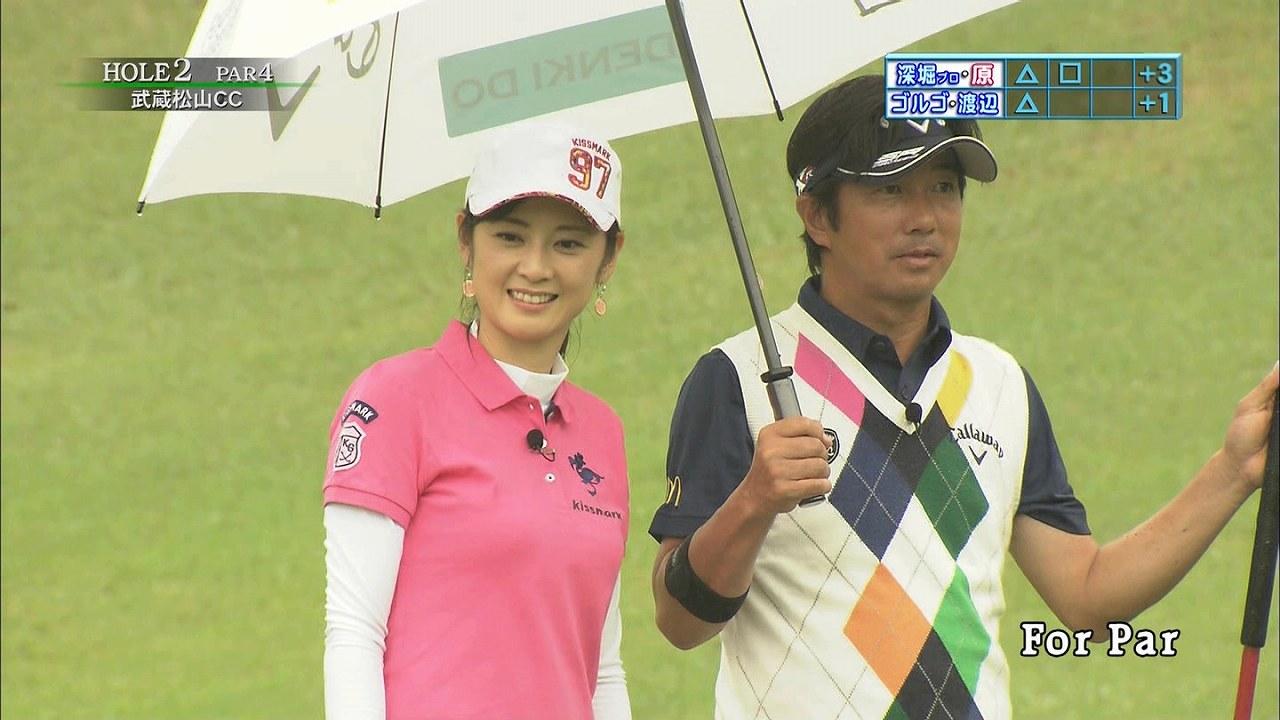 テレ東「ゴルフの真髄」、ゴルフウェアを着た原史奈の着衣巨乳