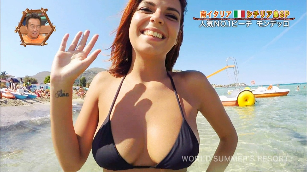 「世界さまぁ~リゾート」にリポーターとしてビキニ水着で出演したイタリア人女子高生