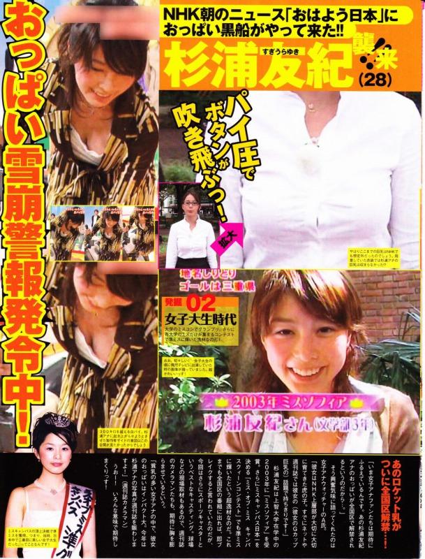 NHK・杉浦友紀アナの胸チラ画像