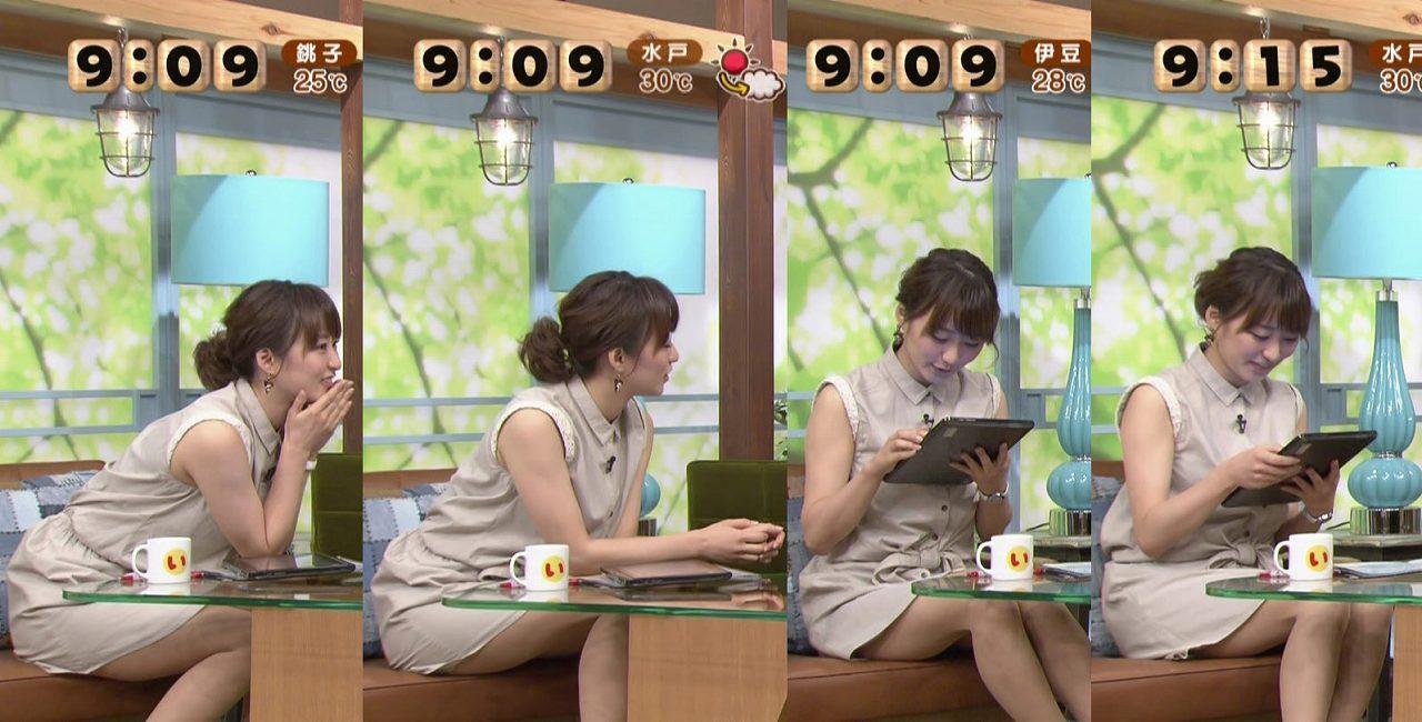 ミニスカワンピで座って太もも丸出しの枡田絵理奈アナ