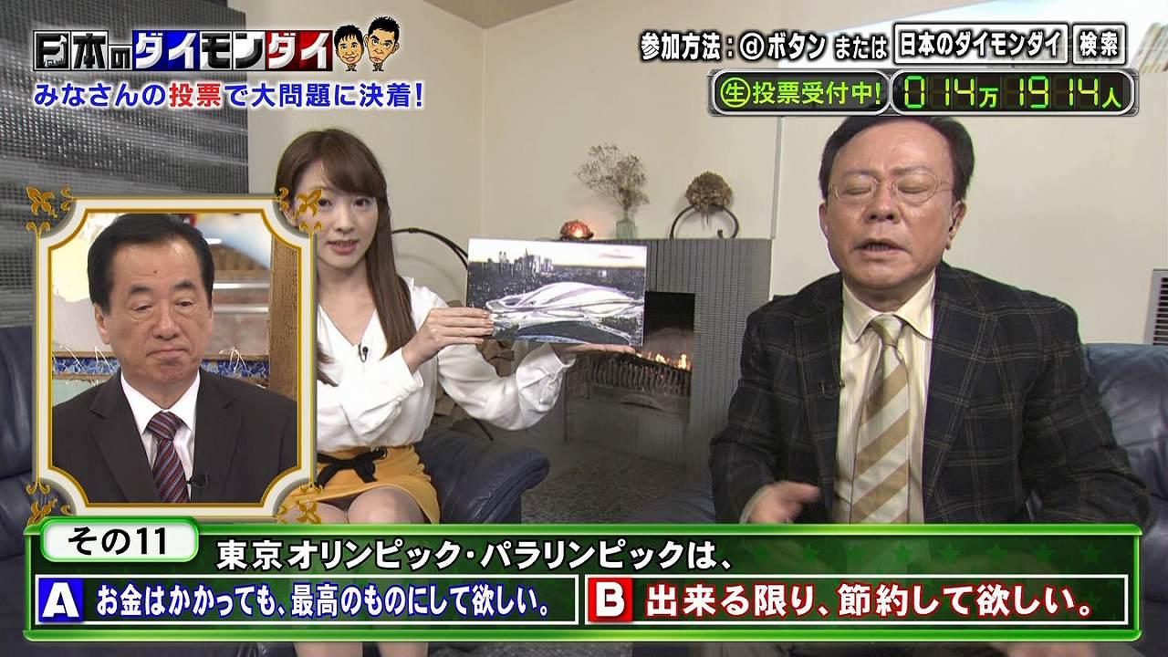 「日本のダイモンダイ 」で座りパンチラする三上真奈アナ