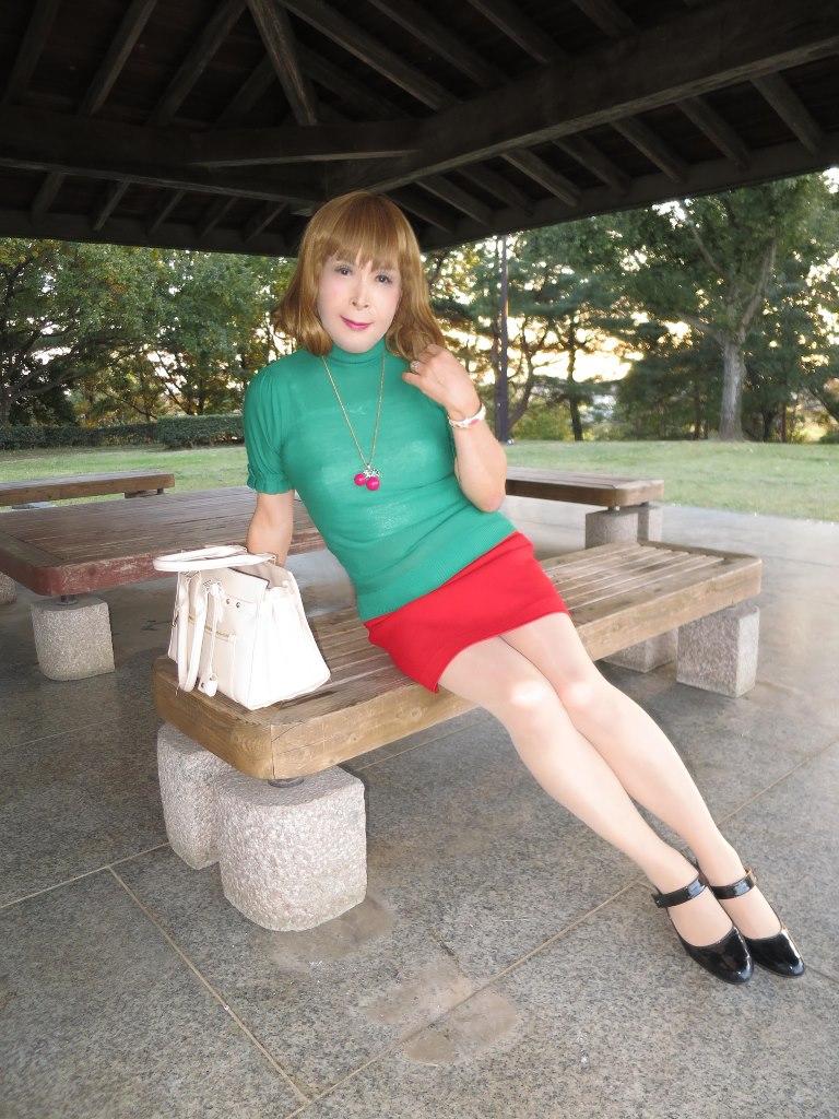 緑トップ赤ミニスカ公園(5)