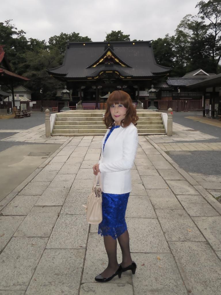 青レースワンピ白ジャケットA(3)