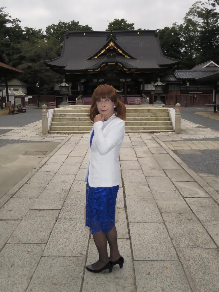 青レースワンピ白ジャケットA(4)
