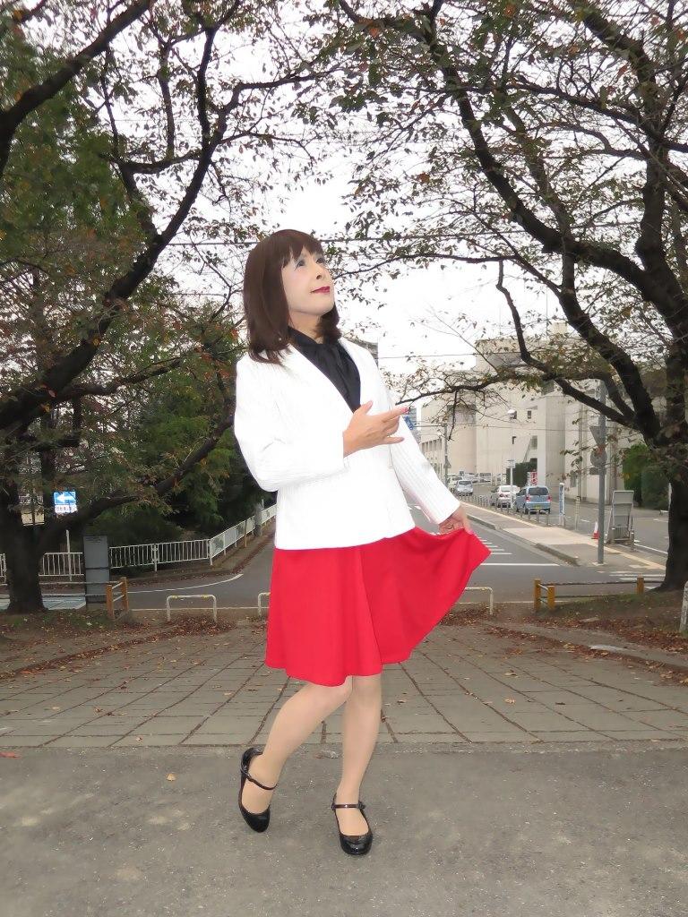 白縞ジャケット赤スカートA(8)