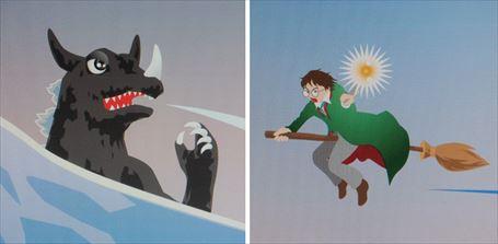 ゴジラ(左)とハリー・ポッター(右)の絵