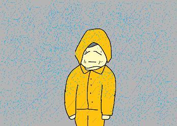 冷たい雨に打たれて
