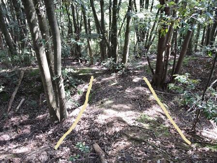 狩倉山砦二重堀内側にかかる土橋