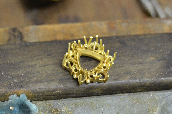 K18YGイエローゴールドハンドメイド手作りバイカラータンザナイトバイカラーゾイサイトリング指輪2