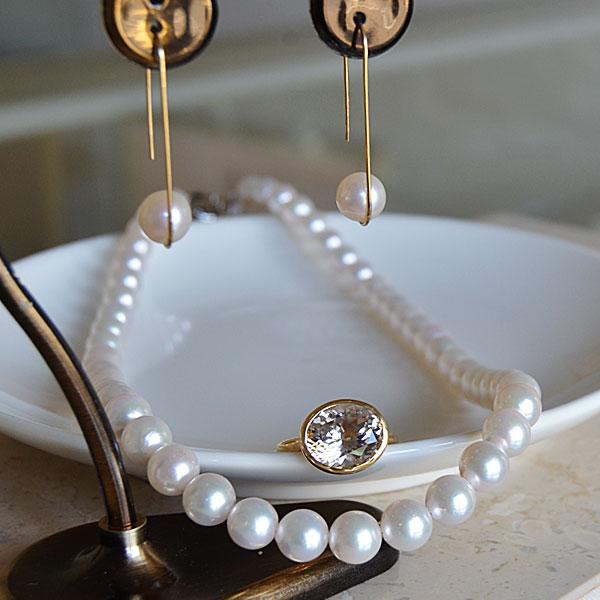 あこや真珠ネックレスK18イエローゴールドピンクダンブライトリング淡水真珠ピアス