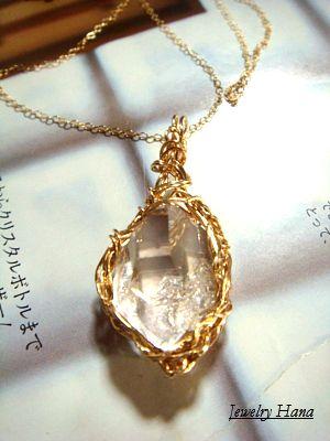 ハーキマーダイヤモンド 14KGFペンダントネックレス