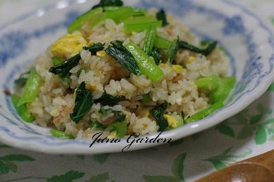 小松菜とシーチキンのチャーハン