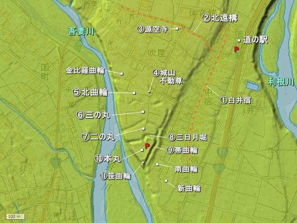 白井城地形図