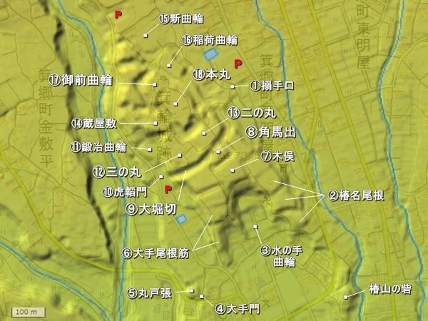 箕輪城地形図