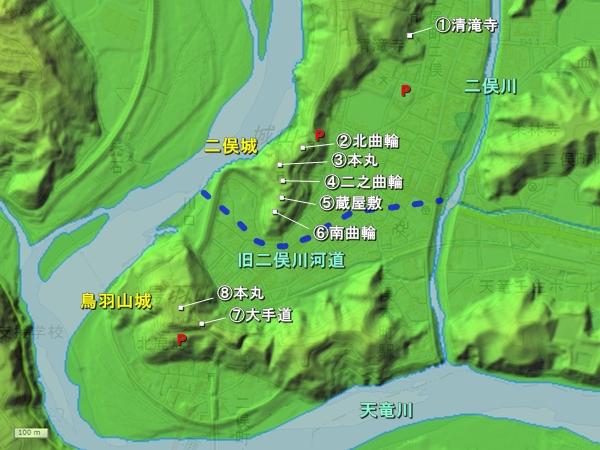 二俣城地形図