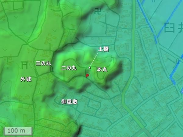 臼井城地形図