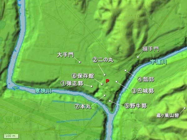 長篠城地形図