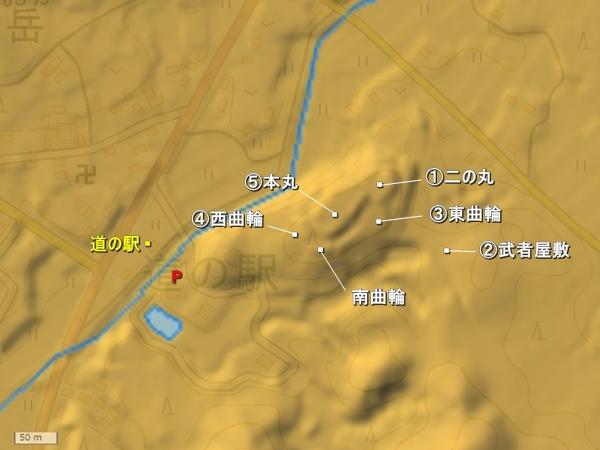 亀山城地形図
