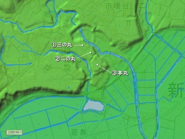 野田城地形図