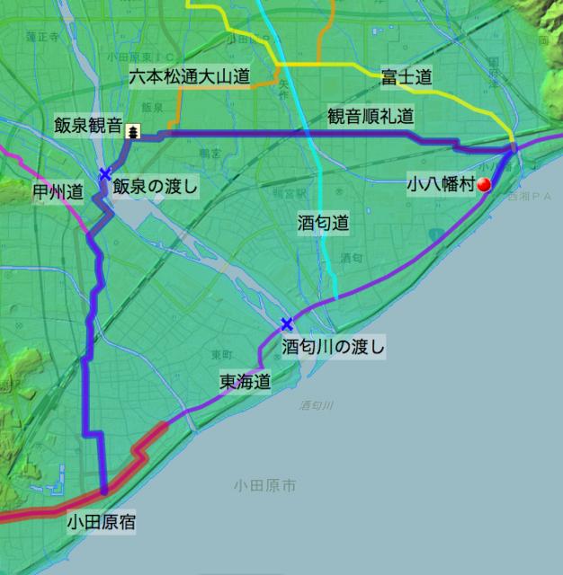 「慊堂日暦」天保4年6月の酒匂川の渡し「廻り越し」推定ルート