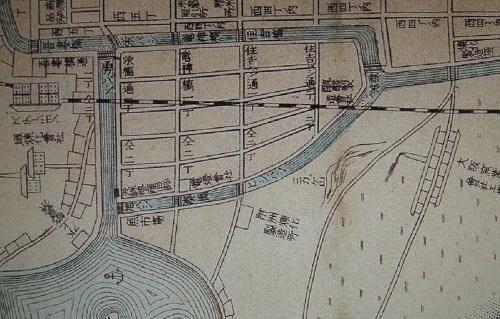 旭橋の位置(明治34年当時の地図より)