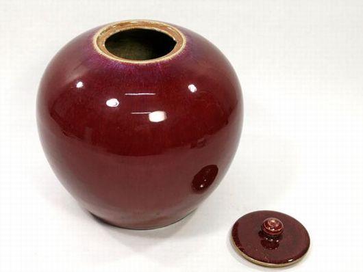 辰砂釉 壺 蓋付