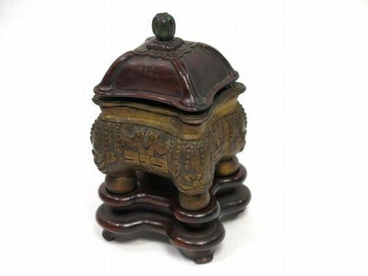 古い香炉 大清乾隆年製 唐木